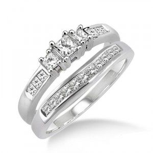 Cheap Princess Cut Wedding Set Engagement Ring 1 Carat Diamond on Gold