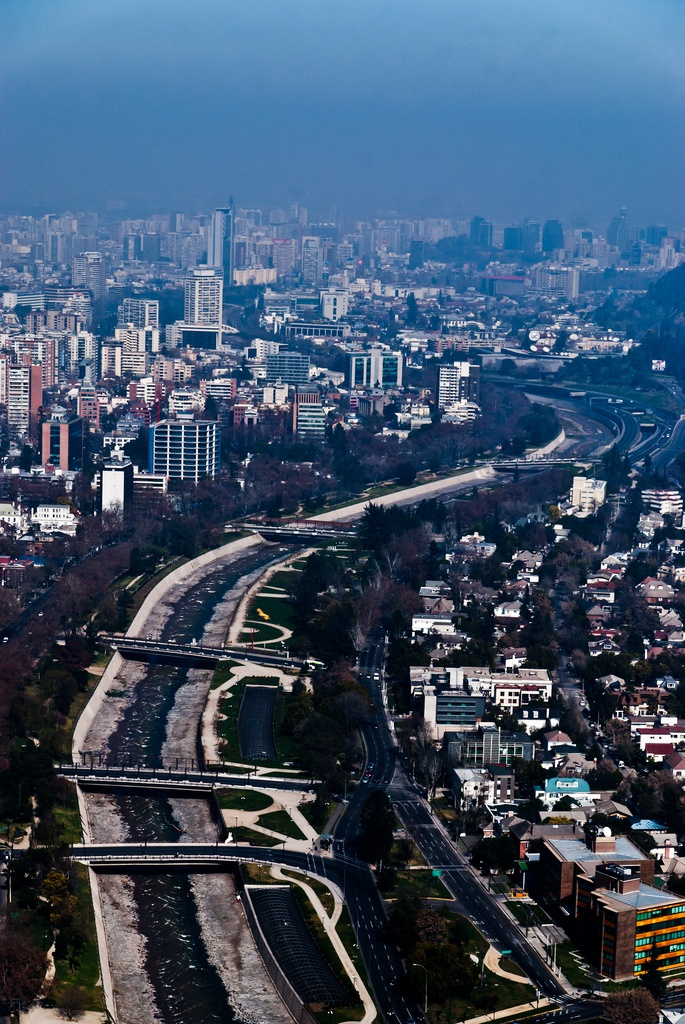 Mapocho river, Santiago, Chile. #7 Top City in Mexico, South America & Central America for vacation destination.