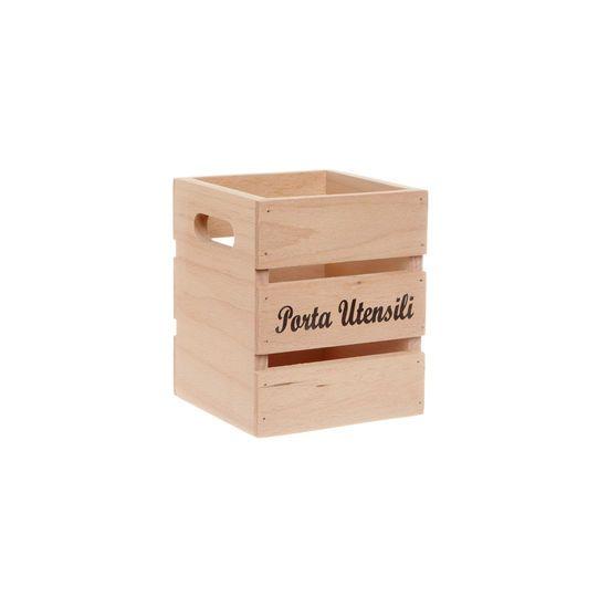 Scatola quadrata porta utensili da cucina in legno che ricorda una cassetta della frutta.