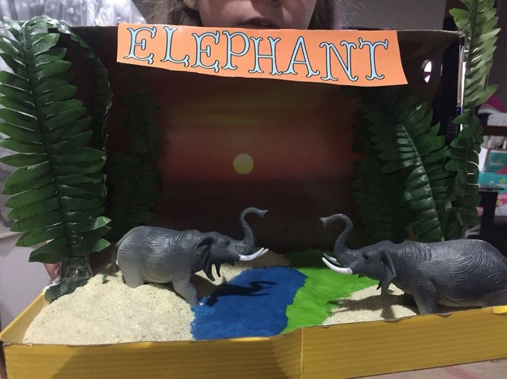 Elephant habitat diorama. 3rd grade project. Everything from dollar tree except the shoebox