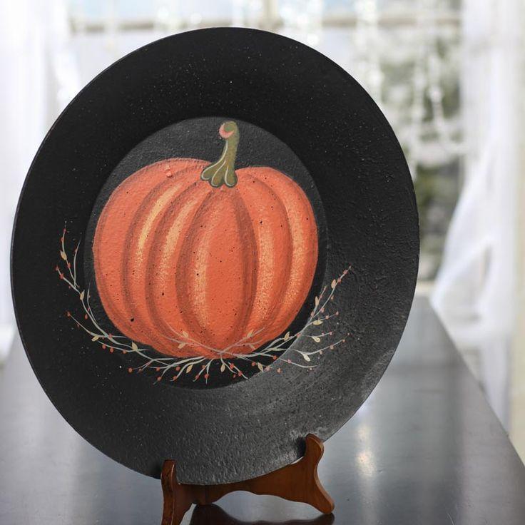 Primitive Hearthside Collection Pumpkin Plate - Decorative Plates and Standsu2026 & 73 best My designs images on Pinterest | Birdhouses Decorative ...