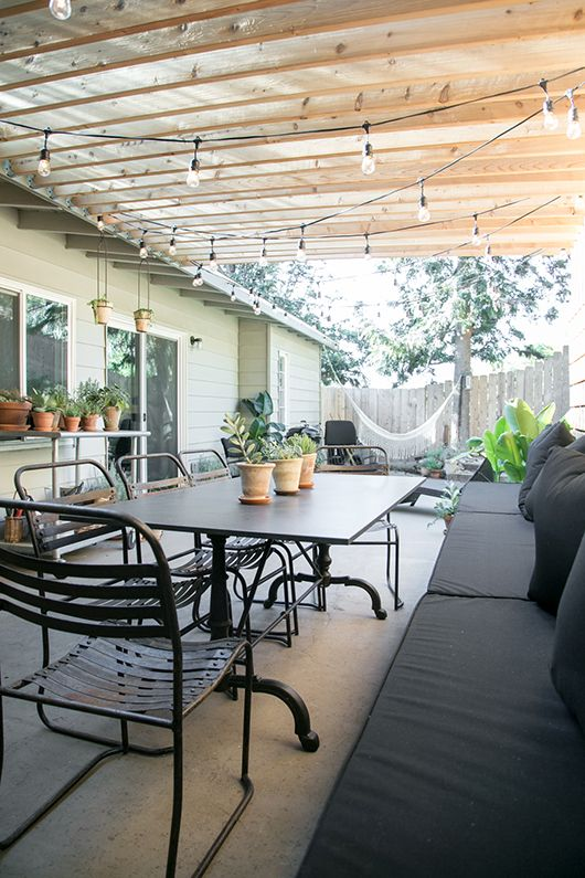 outdoor patio with pergola over granite dining table / sfgirlbybay