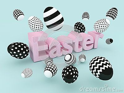 3d  Easter shiny text with black and white eggs