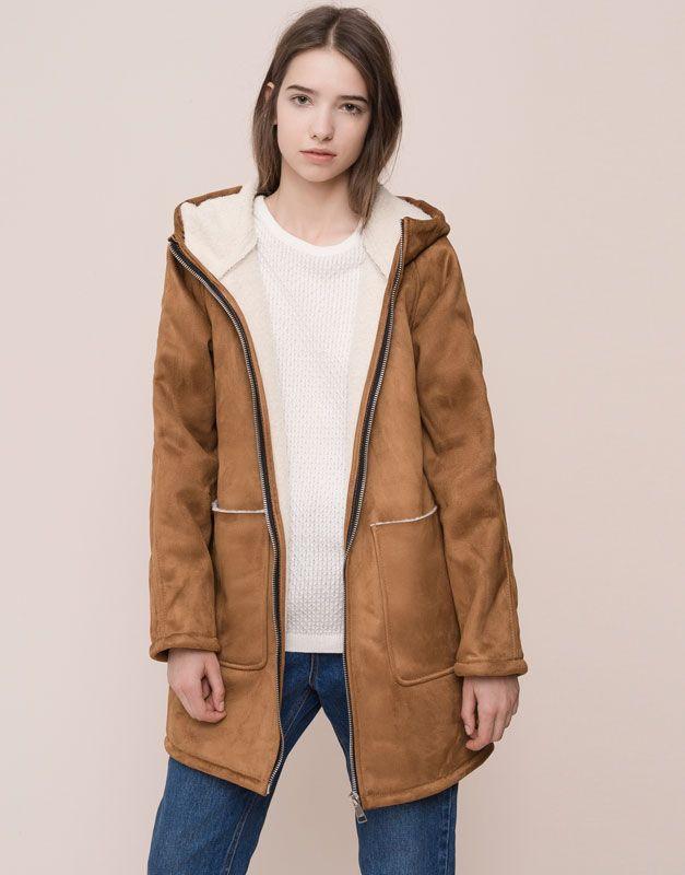 pull bear femme manteaux manteau capuche doublure mouton caramel 09752308 i2015. Black Bedroom Furniture Sets. Home Design Ideas