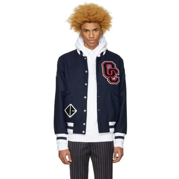 Opening Ceremony SSENSE Exclusive Navy Logo Varsity Jacket ($425) ❤ liked on Polyvore featuring men's fashion, men's clothing, men's outerwear, men's jackets, mens navy blue jacket, mens short sleeve jacket, mens navy blue bomber jacket, men's navy bomber jacket and old navy mens jackets