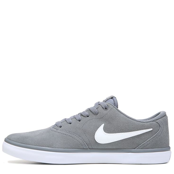 Nike Men's Nike SB Check Solar Suede Skate Shoes (Cool Grey/White) - 13.0 M