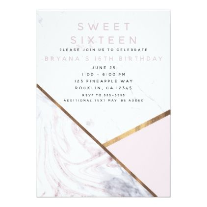 Rose Gold Marble Swirl Blush Pink Bronze Sweet 16 Card - trendy gifts cool gift ideas customize