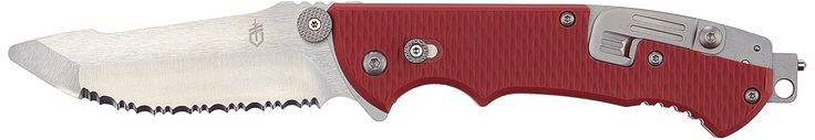 Gerber Hinderer Rescue Knife [22-01534]. Includes safety hook cutter for webbing a clothing, seatbelts. Oversized thumb stud and external blade release for easy operation. Also includes Window punch and oxygen tank valve opener. Includes 9-piece tool kit for added features. Kepp it in your car for emergencies.