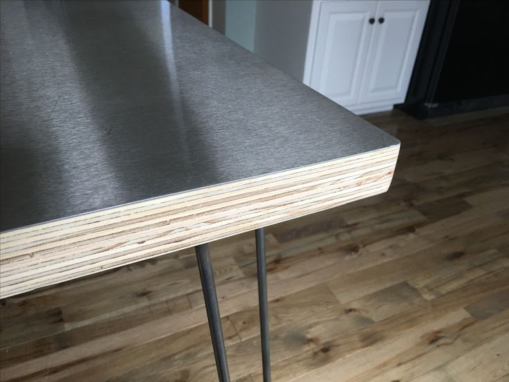 8 best kitchen images on pinterest plywood countertop for Plywood table hairpin legs