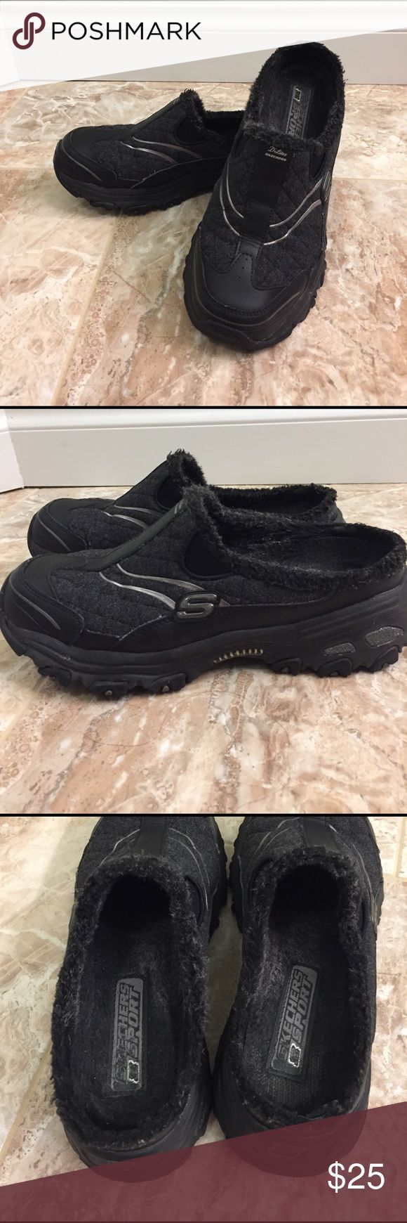 Women's Skechers Sport Slip On D'lites 8.5 Cute sporty pair of ladies Skechers Slip on shoes! Has faux fur lining and some silver and glitter accents on the outside. Great tread on bottom! Size 8.5. Very comfortable! Just the wrong size for me :( Skechers Shoes Athletic Shoes