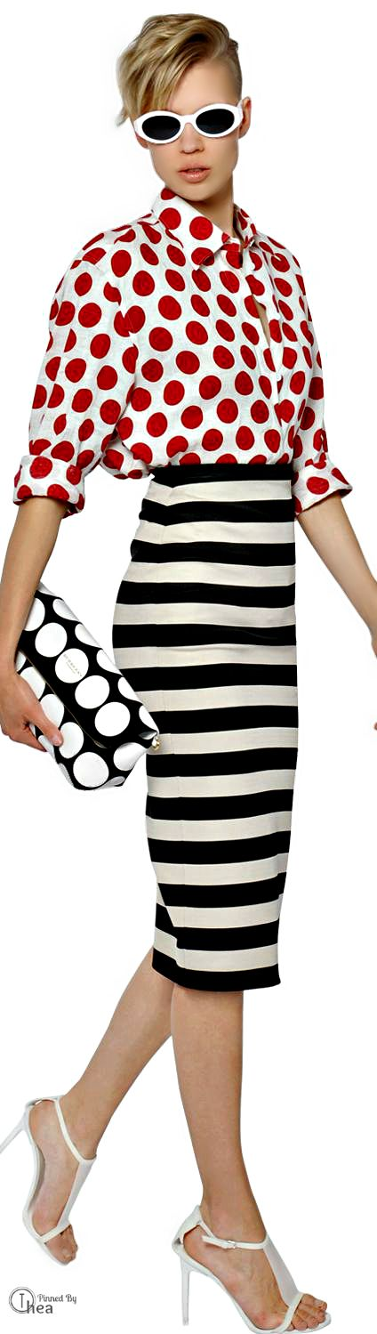 Burberry Prorsum ● SS 2014, red polka dot shirt, white polka dot clutch, black and white striped skirt, mixing prints, pattern clash