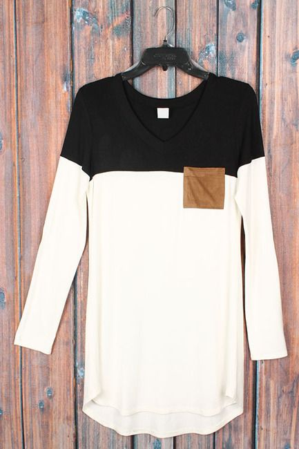 Elbow patch colorblock tunic with front pocket. Ivory & black