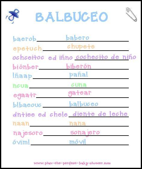 Juego para baby shower: Balbuceo | Manualidades para Baby Shower