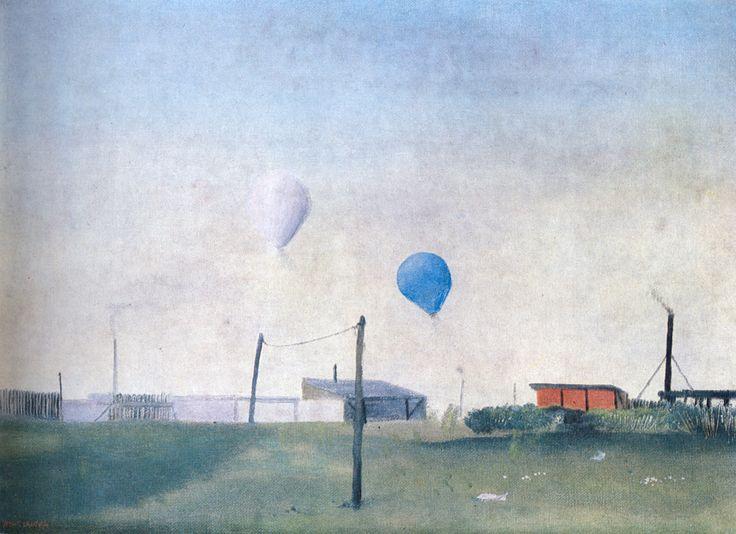 Kamil Lhoták - Two montgolfiers (1942) #painting #art #Czechia