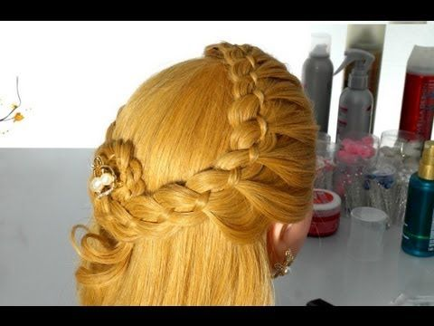 ▶ Hairstyle with braided (braid 4 strands). Frisuren für langes Haar. Frisuren mit Zöpfen - YouTube