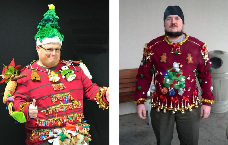 Really ugly Christmas sweaters.