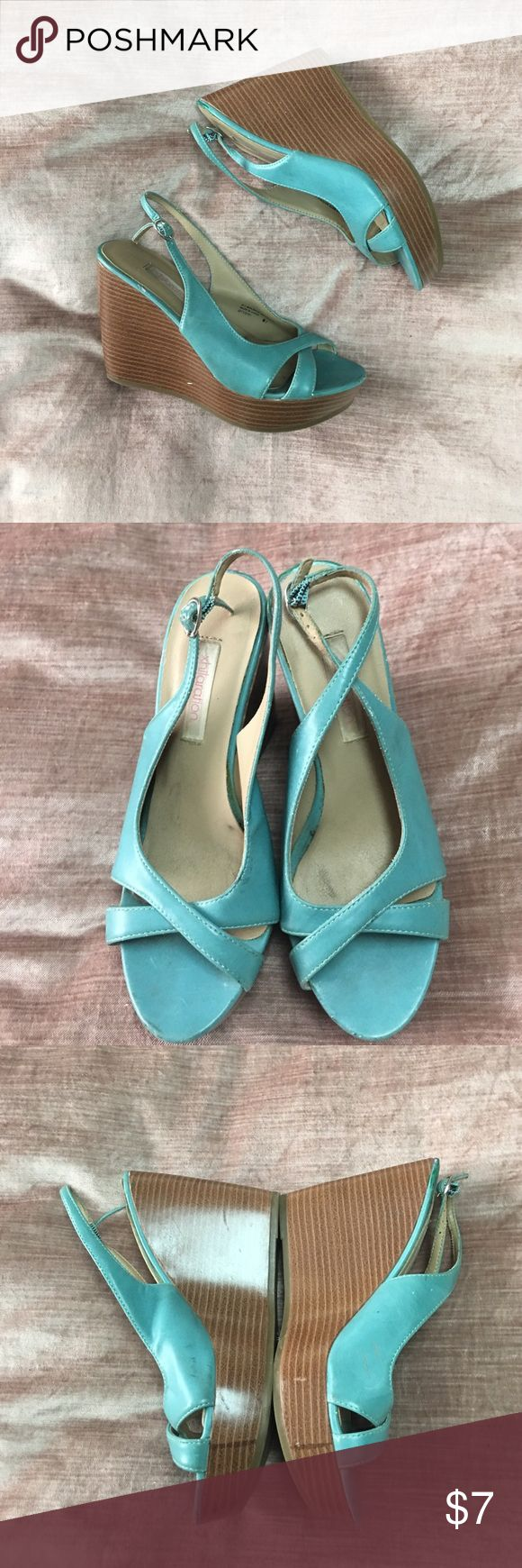 Teal wedges - not in the best condition Teal wedges - not in the best condition. Marks and dings on shoes Xhilaration Shoes Wedges