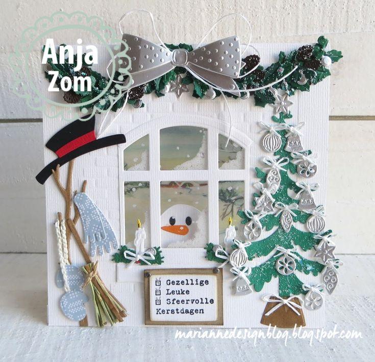 Er staat een kale sneeuwman buiten voor het raam zijn hoed, sjaal, wanten en bezem zijn nog binnen.   Neem een dubbele witte kaart van 14...