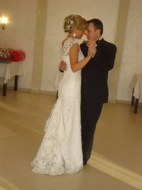 Lace Long Wedding Dress with Puddle Traine by ApilatCreativeAtelie, $1070.00