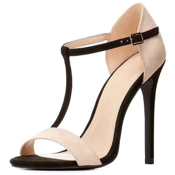 Charlotte Russe Color Block T-Strap Dress Sandals found on Polyvore featuring shoes, sandals, heels, calçados, zapatos, t strap shoes, nude heel sandals, stiletto sandals, high heel stilettos and heels stilettos