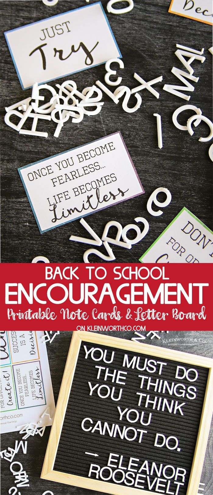 Print this Encouragement Back to School Lunch Notes to go with this awesome letter board & keep the positive mindset flowing all day long. FUN for kids via @KleinworthCo