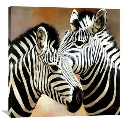 "Global Gallery 'Zebra Pair' by Arcobaleno Painting Print on Wrapped Canvas Size: 36"" H x 36"" W x 1.5"" D"