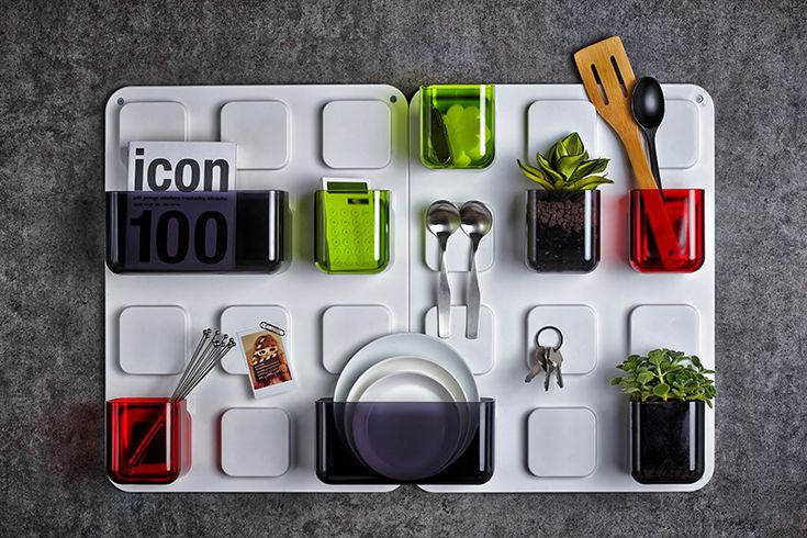 pablolab arranges everyday items with U.tile magnetic wall organizer - designboom | architecture