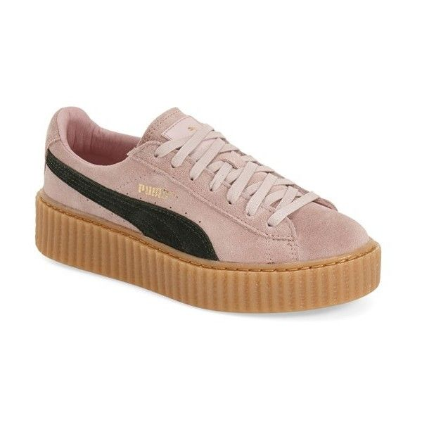 "PUMA by Rihanna 'Creeper' Sneaker , 1 1/2"" heel ($120) ❤ liked on Polyvore featuring shoes, sneakers, cloud pink, platform sneakers, platform lace up shoes, puma trainers, pink shoes and creeper shoes"