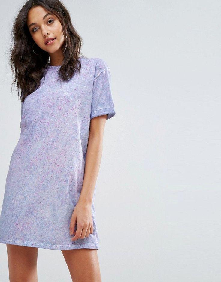 Missguided Tie Dye Oversized T-Shirt Dress - Purple