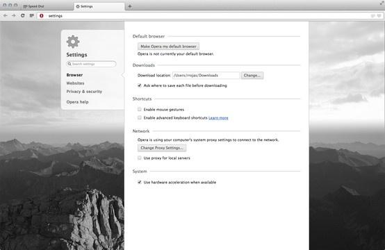 Preferencias en la nueva  versión del navegador Opera (primera versión basada en Webkit) para Mac Os X