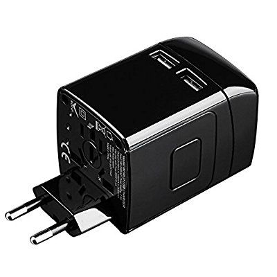 FIIL Travel Adapter,International Plug [US UK EU AU] With Dual USB Charging Ports,Universal Travel Adapter,International Power Adapter, Travel Power Adapter & Universal AC Socket, Safety Fused