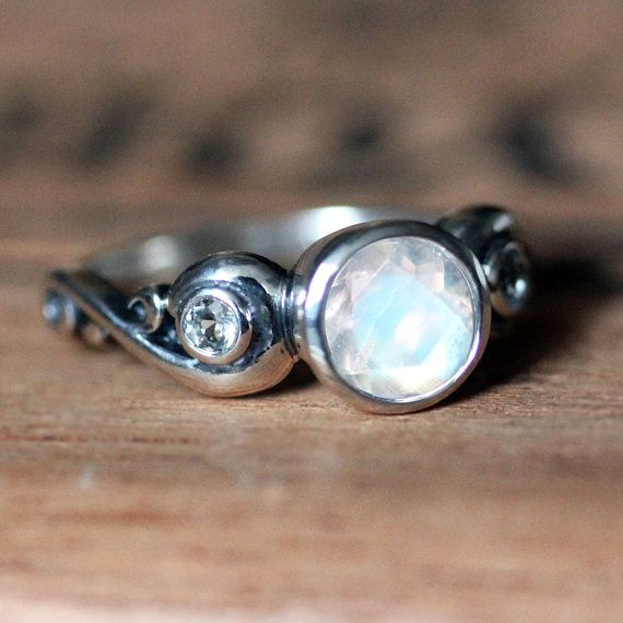 Rainbow moonstone engagement ring 3 stone by metalicious on Etsy