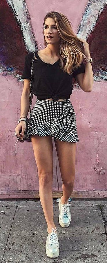 #summer #outfits  Black Tie Top + Gingham Ruffle Skirt + White Sneakers