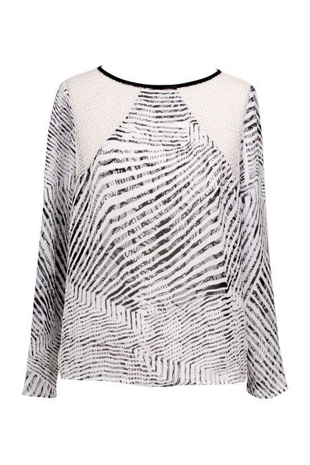 The Instinctual print is a monochrome design that takes the delicate texture of our Covet Lace and breaks it into a multi directional stripe for a magnetic and flattering effect. The shoulders of this simple yet textural shape are cut from a French mesh lace. Wear yours from desk to dinner with an Eternal leather pencil skirt, snake Selector pump and Elevate gray snake tote. #GingerandSmart