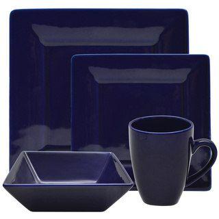 10 Strawberry Street Vivo 16-piece Cobalt Square Dinner Set | Overstock.com Shopping - The Best Deals on Casual Dinnerware