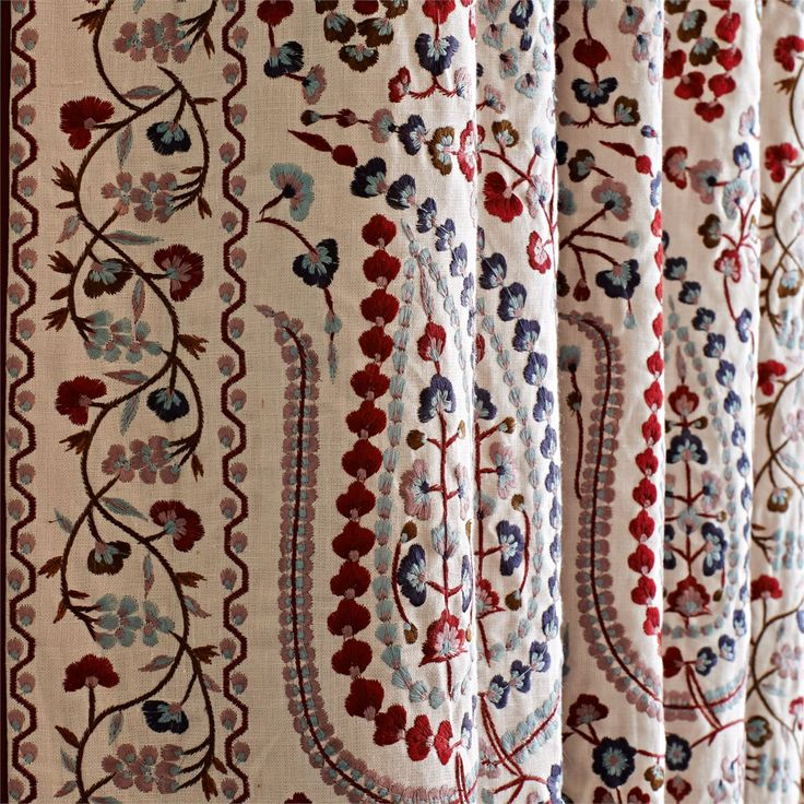 Jayshree Red/blue Exquisite Embroidery!  Clever border design means no extra work adding trim!
