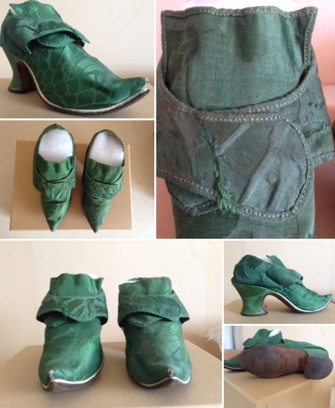 1742-44, Emerald green damask shoes. Charles Paget Wade costume collection, stored at Berrington Hall. Hidden Wardrobe, A Cinderella Moment   National Trust.