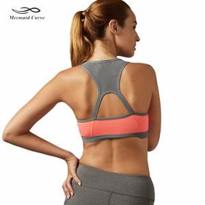Mermaid Curve Women Padded Yoga Shirt Sports Bra Push Up Dry Fit Tank Tops Hollow out BackFor Running Fitness Gym Bras