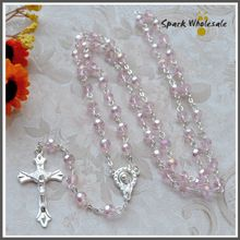 Religious Gifts Women's Pink Crystal Rosary Necklace Jesus Cross Pendant Faceted Glass Rosary Catholic Wedding Rosary //Price: $US $12.99 & FREE Shipping //     #hashtag3