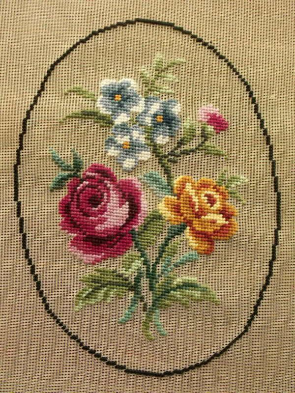 Antique PREWORKED Needlepoint Canvas *OVAL*~Vtg ROSE PINK GOLDEN Roses French