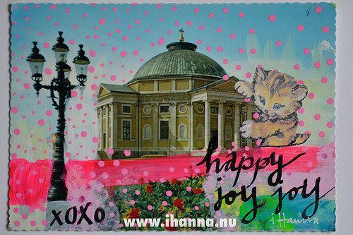 DIY Postcard: Happy joy joy made by iHanna, of www.ihanna.nu - Copyright Hanna Andersson