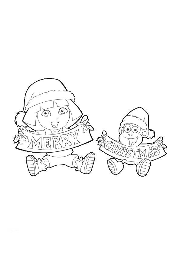dora merry boots christmas coloring page