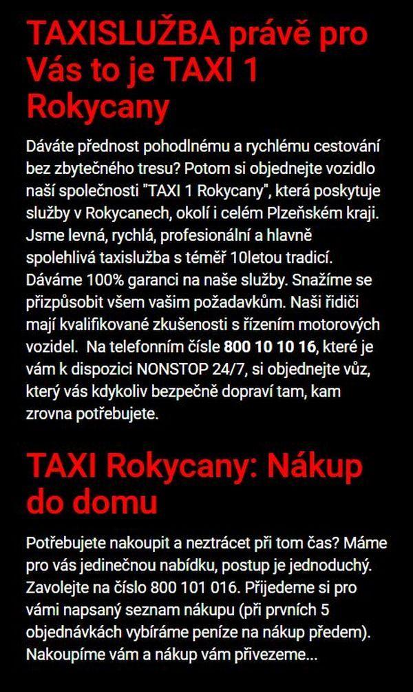 TAXI Rokycany služby taxi