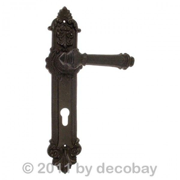 Klinken-Garnitur antik nachgefertigt Türbeschlag Türdrücker Langschild Engel BB