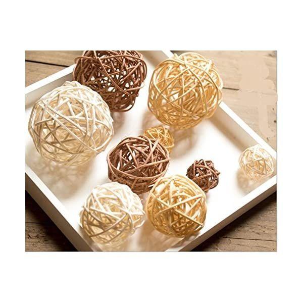 Yaomiao Wicker Rattan Balls Decorative Orbs Vase 2 Inch Natural White Brown