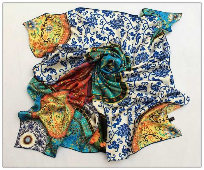 """Extra Large Square Silk Scarf 43x43"""" (110x110cm) Digitally Painted Blue and…"""