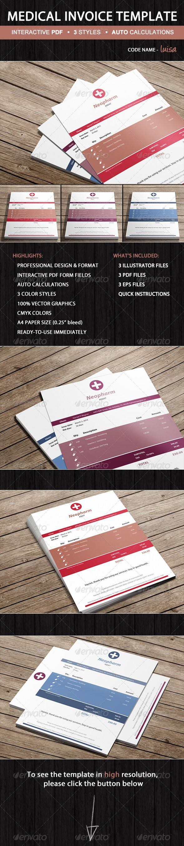 Medical Pharmacy Invoice Template - Luisa #GraphicRiver Invoice Luisa is…