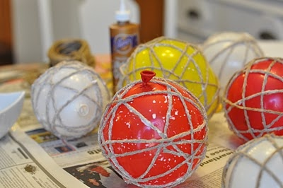 These are expensive in the store -twine balls for a centerpiece.