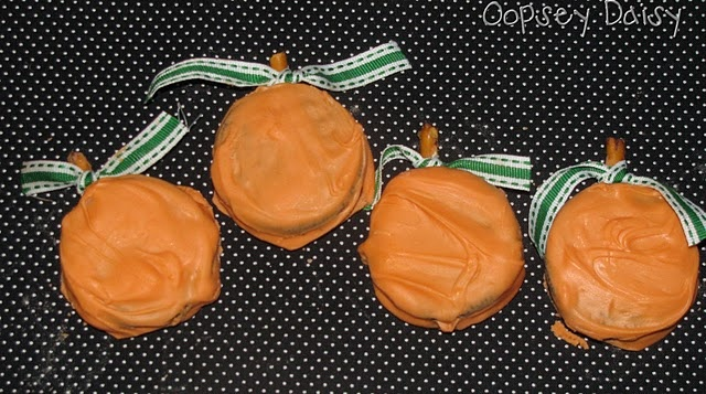 Oreo Pumpkins (dipped in orange candy melts with a pretzel stick stem)