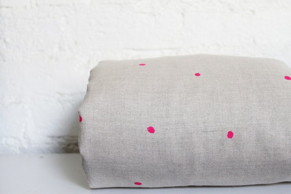 Toddler / Cot Bedding   Handprinted 100 Linen Neon by hellomilky, $90.00